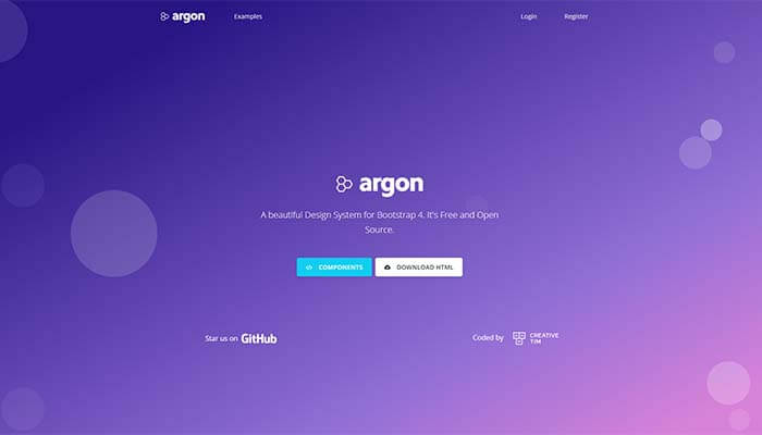 Argon Design System - The Open Source Design System, Main Image.