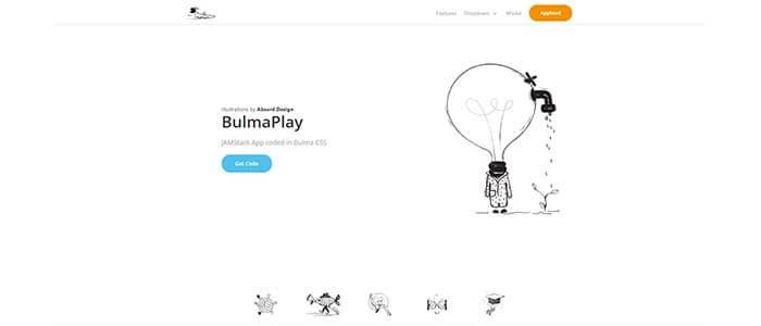Main Screen Shot of BulmaPlay - Free app built with Bulma CSS.