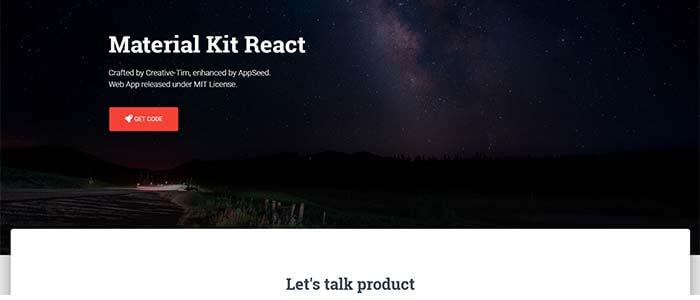 Material Kit React - Full-Stack App, Screen 1.