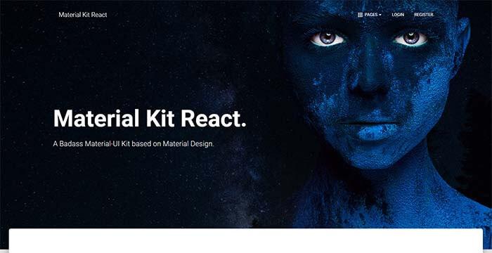 Material Kit React - Full-Stack App, Main Screen.